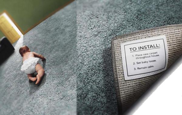 Textielsticker op tapijt